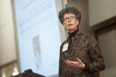 Peggy Layne, Director of AdvanceVT and Faculty Projects, presents data on women faculty at Virginia Tech