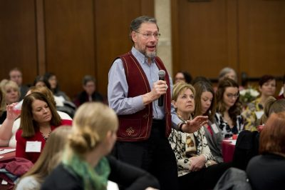 Image of Dick Burian asking a question at the 2015 Advancing Diversity Workshop