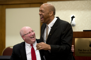 Image of Vidmar and Robinson at the 2015 Advancing Diversity Workshop